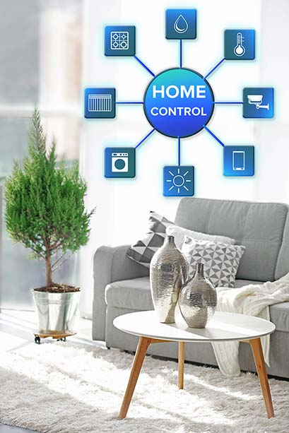 Smart home control concept. Room interior with sofa, table and l
